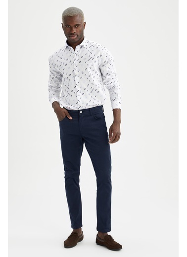DeFacto Modern Fit Desenli Uzun Kollu Gömlek Beyaz